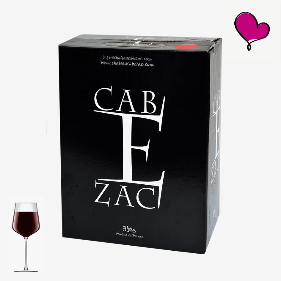 Chateau Cabezac, Rode Minervois wijn in bag in box. Syrah Carignan