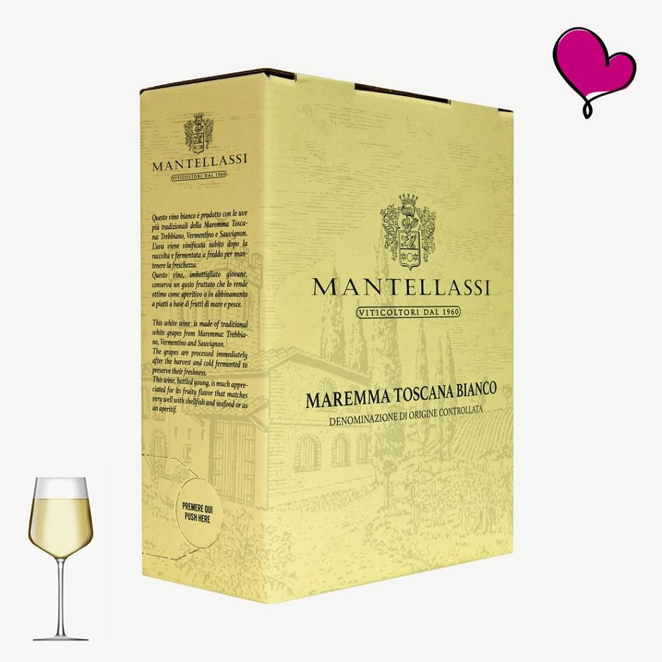 Toscaanse witte wijn in bag in box. Vermentino, trebbiano, Sauvignon blanc. Italiaanse witte wijn