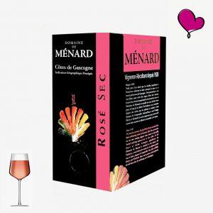 Domaine de Ménard, Côtes de Gascogne Rosé in bag in box. Cabernet Sauvignon rosé