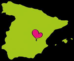 Kaartje van Spanje met een hartje in La Mancha