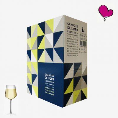 Wijntap Granges de l'Orb, IGP Cessenon blanc in bag in box. Grenache blanc,Vermentino en Colombard