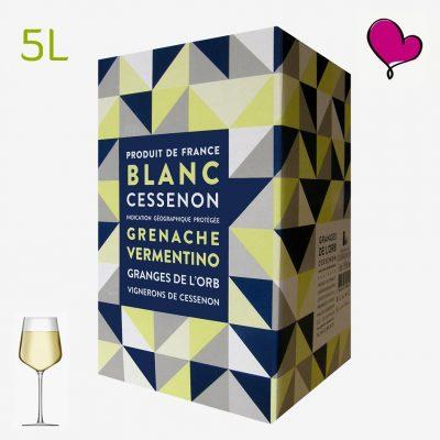 Wijntap Granges de l'Orb 5 liter, IGP Cessenon blanc in bag in box. Grenache, Vermentino en Colombard